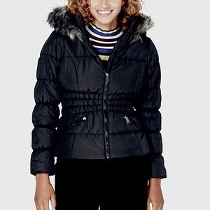 NWT Black Ruched Waist Puffer Jacket